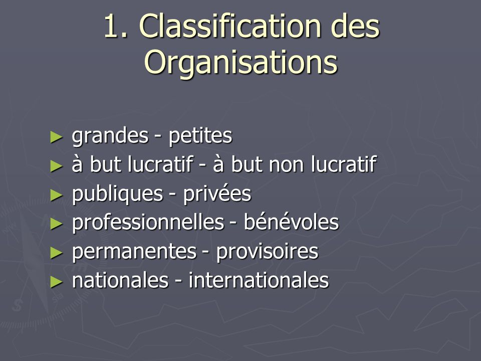 1. Classification des Organisations