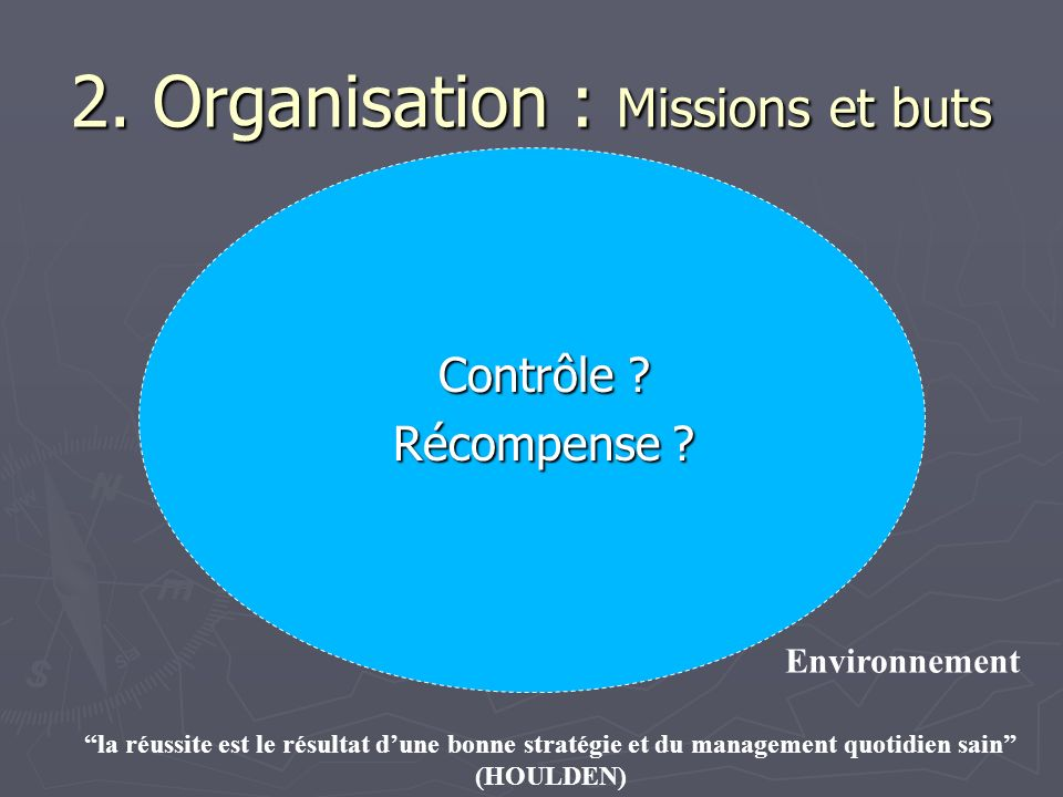 2. Organisation : Missions et buts