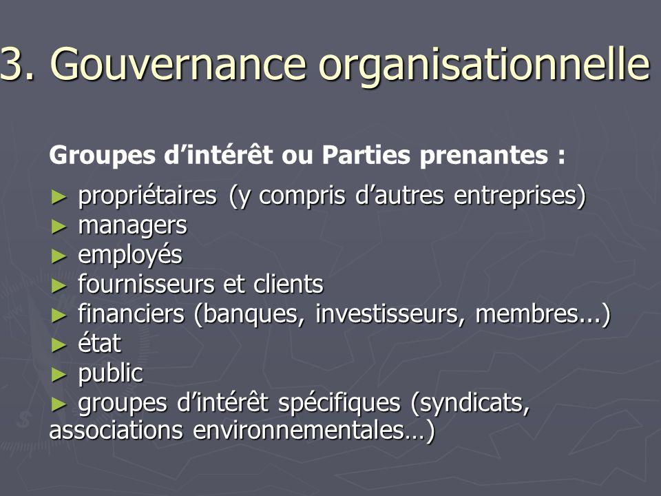 3. Gouvernance organisationnelle
