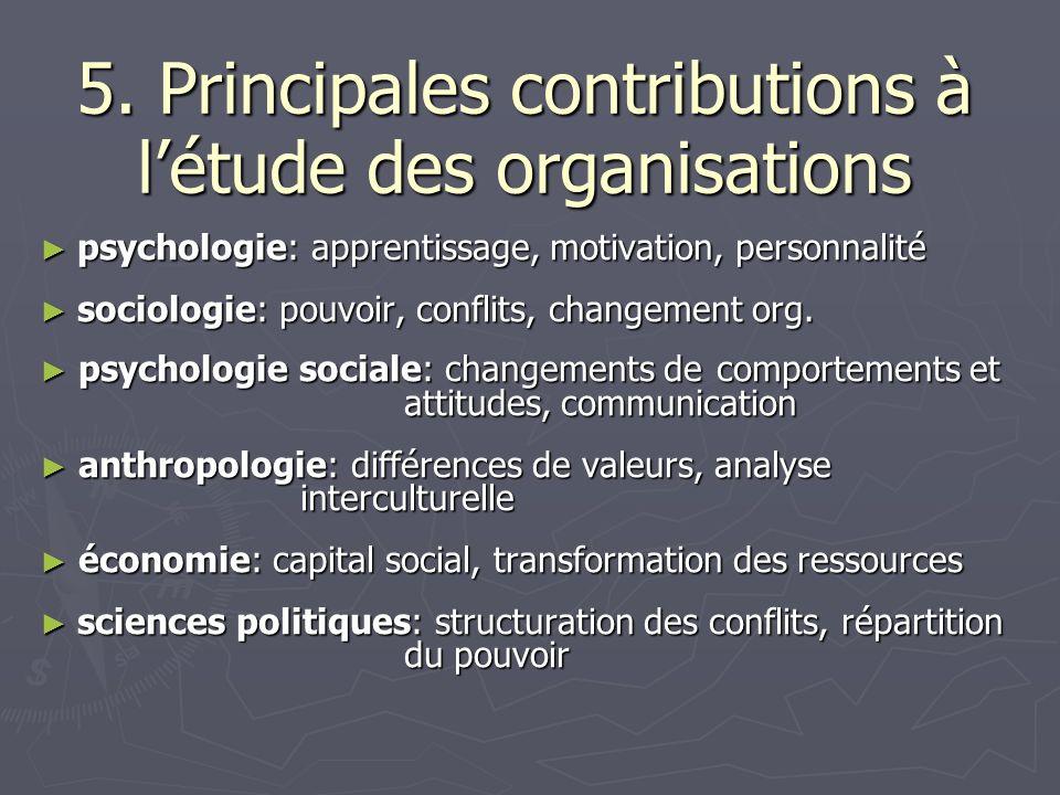 5. Principales contributions à l'étude des organisations