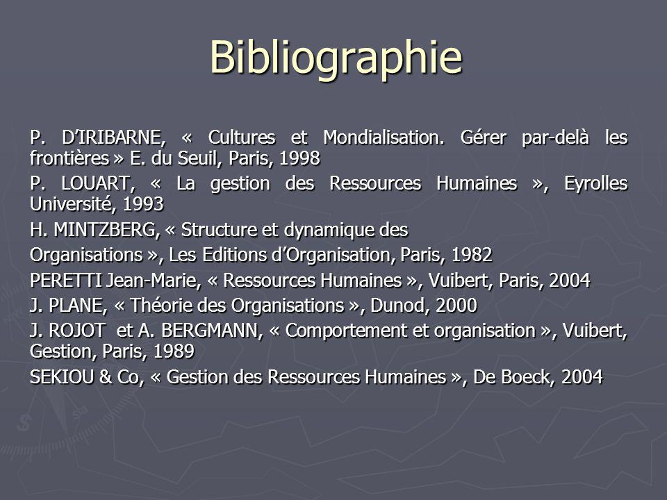 Bibliographie P. D'IRIBARNE, « Cultures et Mondialisation. Gérer par-delà les frontières » E. du Seuil, Paris, 1998.