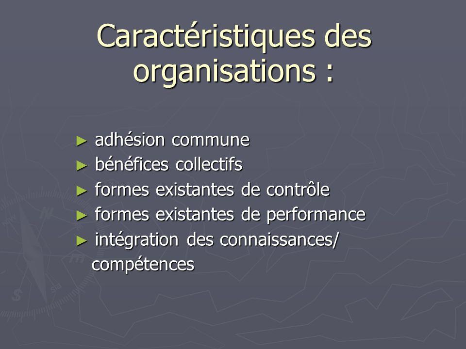 Caractéristiques des organisations :