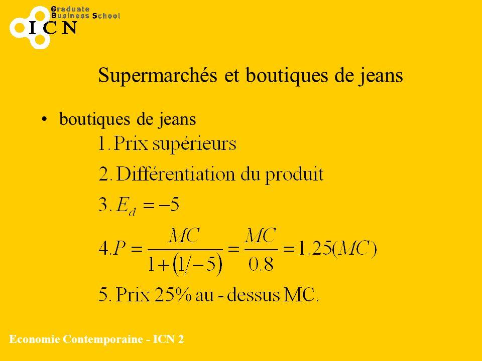 Supermarchés et boutiques de jeans
