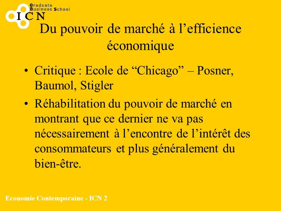 Du pouvoir de marché à l'efficience économique