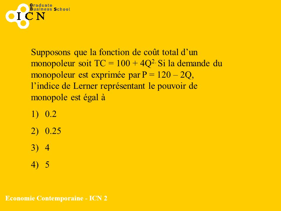 Economie Contemporaine - ICN 2