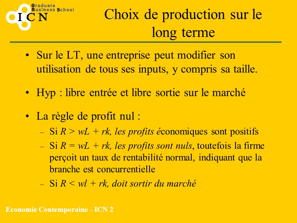 Choix de production sur le long terme
