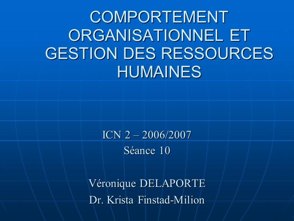 COMPORTEMENT ORGANISATIONNEL ET GESTION DES RESSOURCES HUMAINES