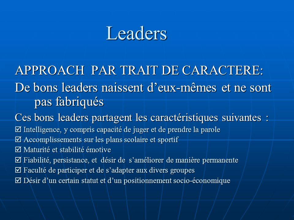 Leaders APPROACH PAR TRAIT DE CARACTERE: