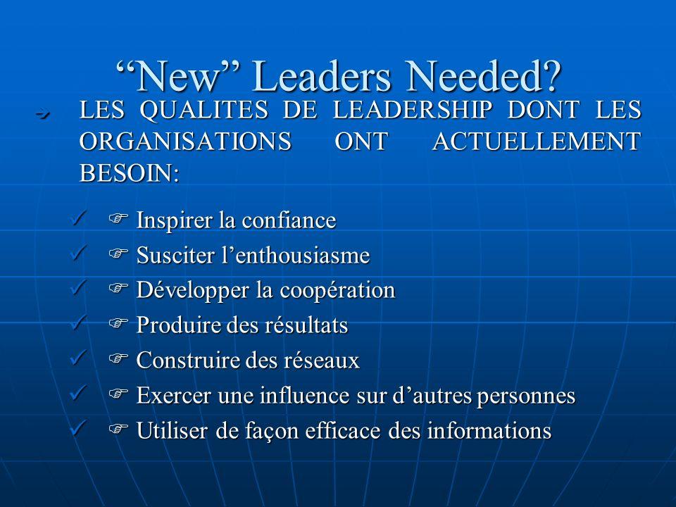 New Leaders Needed LES QUALITES DE LEADERSHIP DONT LES ORGANISATIONS ONT ACTUELLEMENT BESOIN:  Inspirer la confiance.