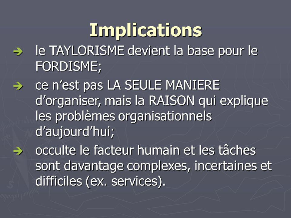 Implications le TAYLORISME devient la base pour le FORDISME;