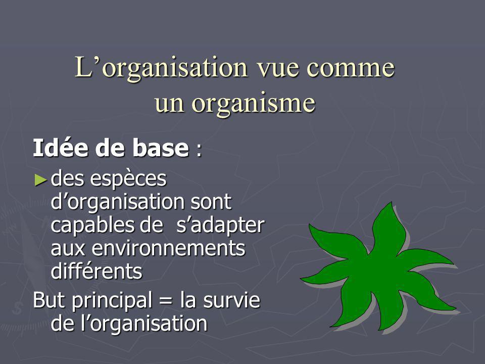 L'organisation vue comme un organisme
