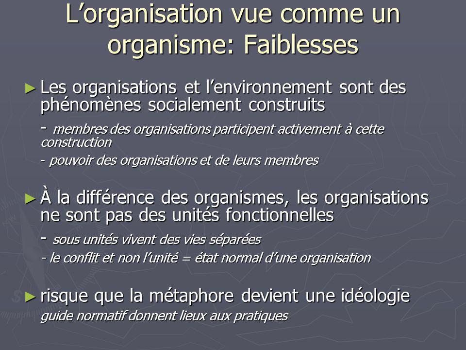 L'organisation vue comme un organisme: Faiblesses