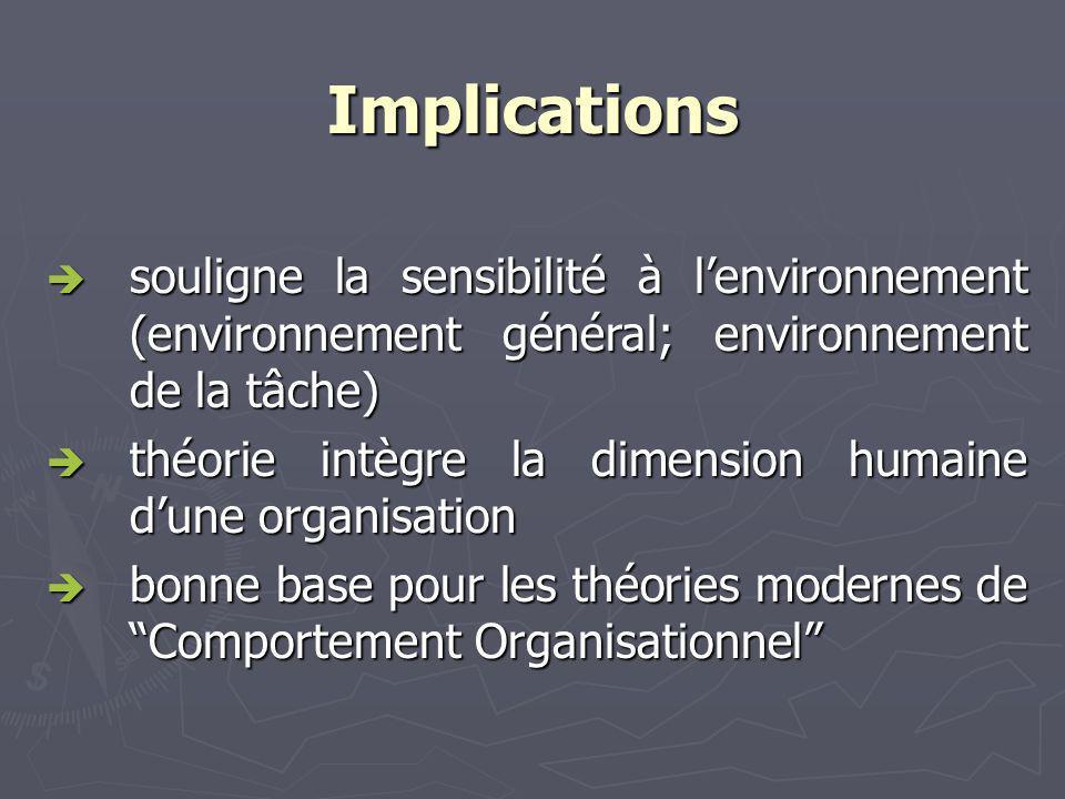Implications souligne la sensibilité à l'environnement (environnement général; environnement de la tâche)