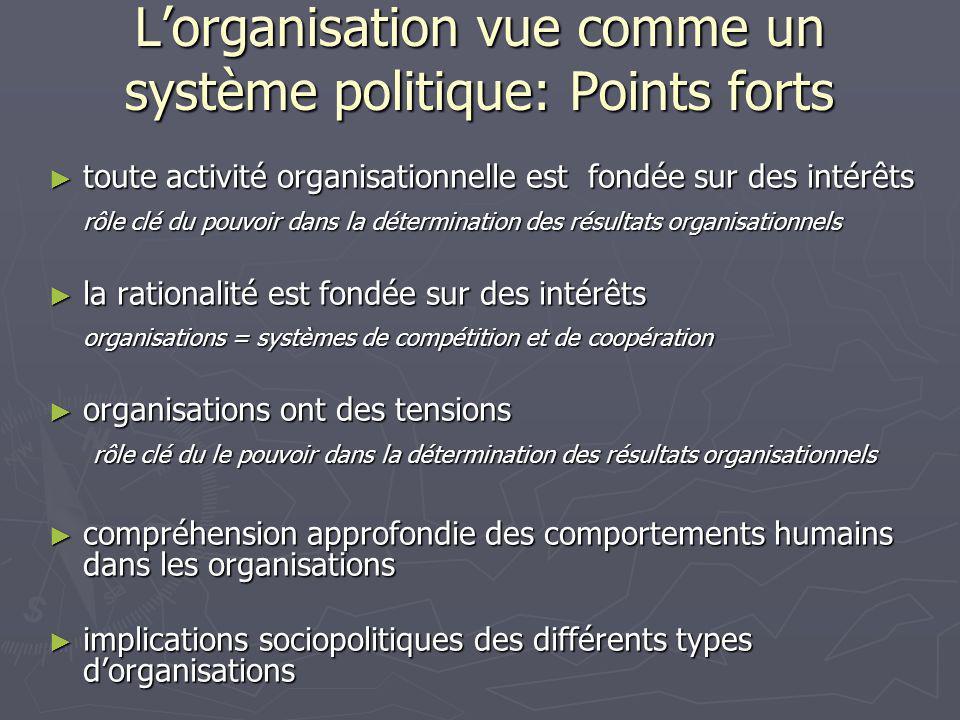 L'organisation vue comme un système politique: Points forts