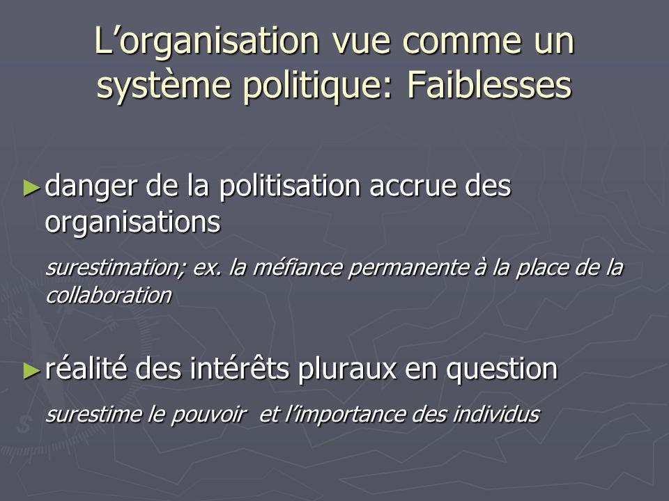 L'organisation vue comme un système politique: Faiblesses