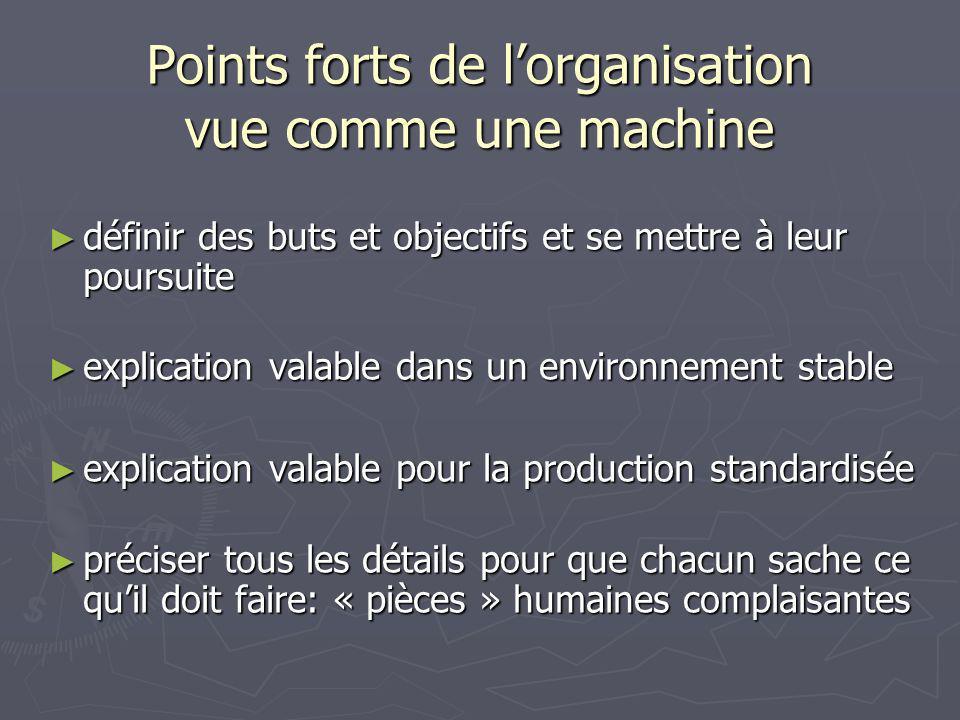 Points forts de l'organisation vue comme une machine