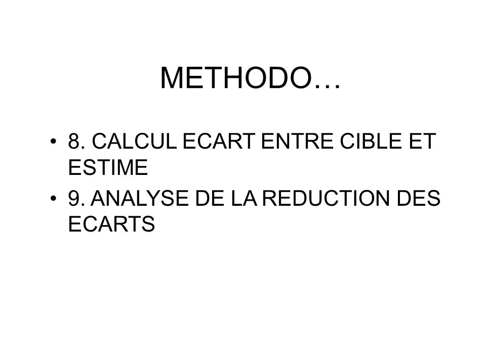 METHODO… 8. CALCUL ECART ENTRE CIBLE ET ESTIME