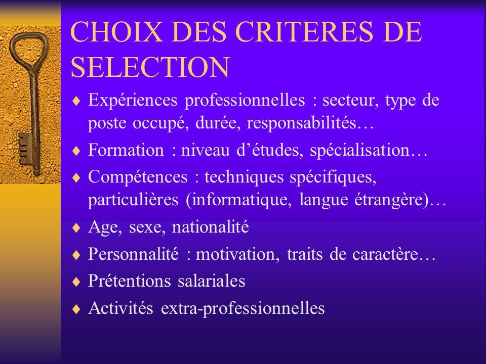 CHOIX DES CRITERES DE SELECTION