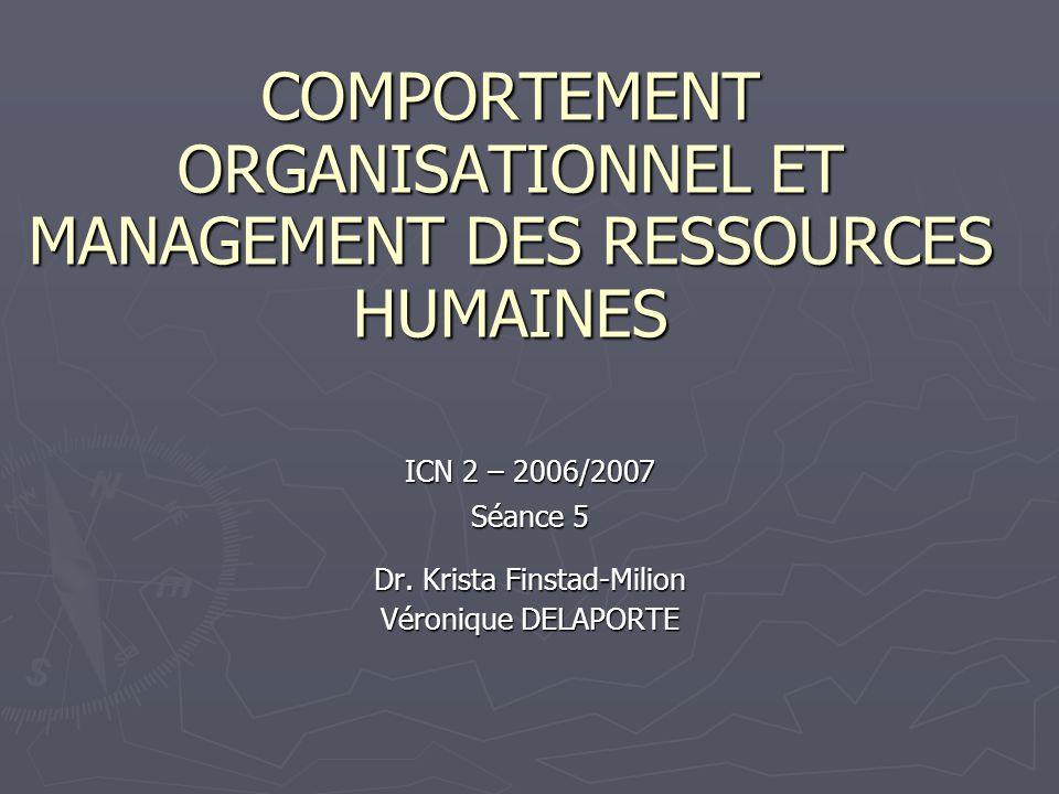 COMPORTEMENT ORGANISATIONNEL ET MANAGEMENT DES RESSOURCES HUMAINES