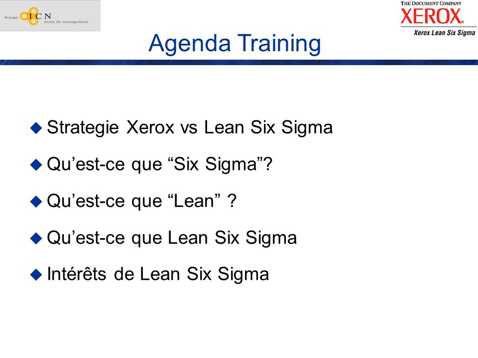 Agenda Training Strategie Xerox vs Lean Six Sigma