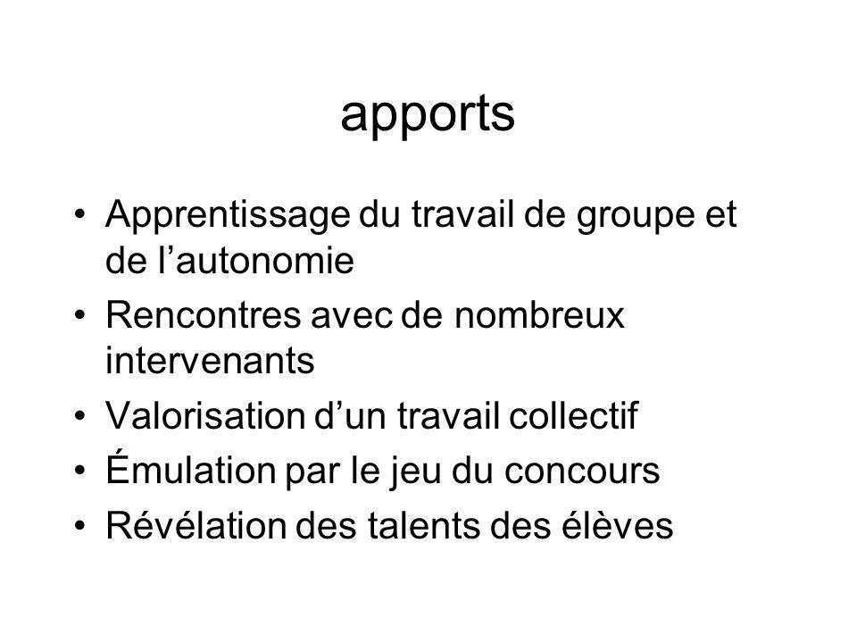 apports Apprentissage du travail de groupe et de l'autonomie