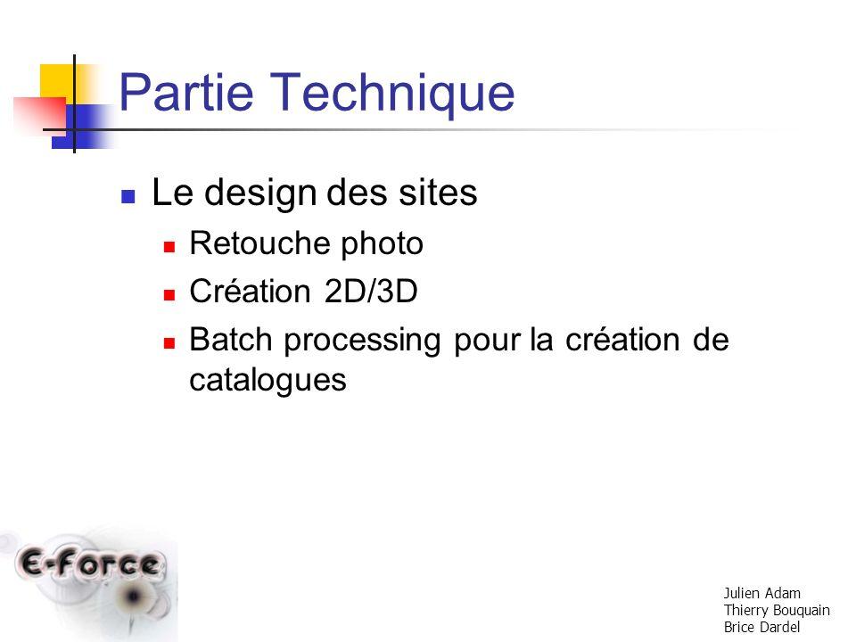 Partie Technique Le design des sites Retouche photo Création 2D/3D