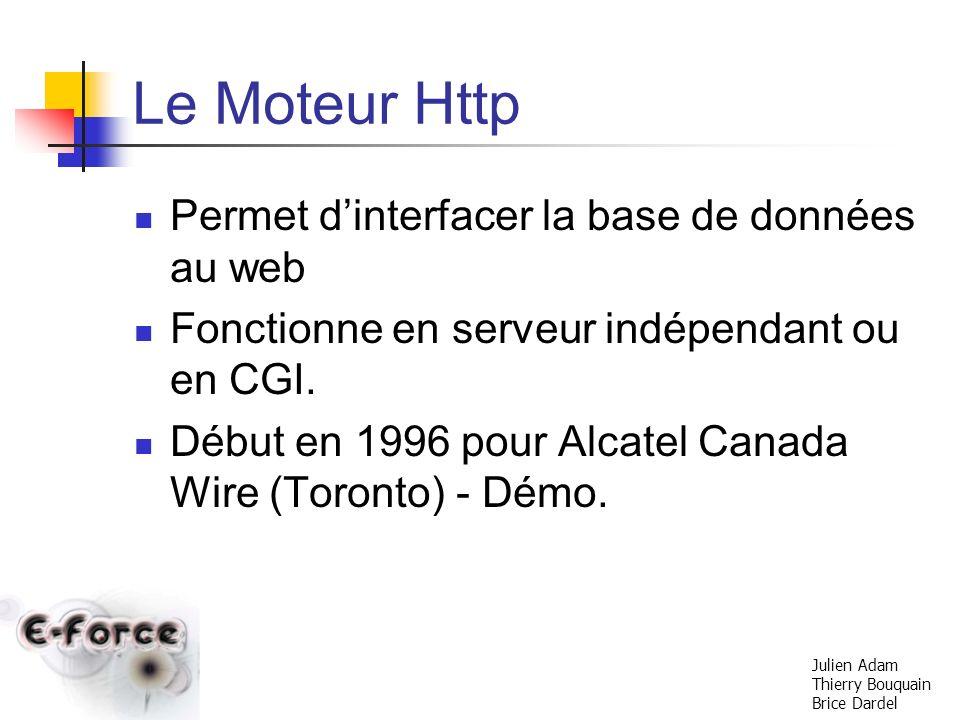 Le Moteur Http Permet d'interfacer la base de données au web