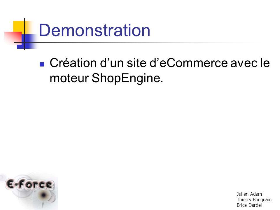 Demonstration Création d'un site d'eCommerce avec le moteur ShopEngine.