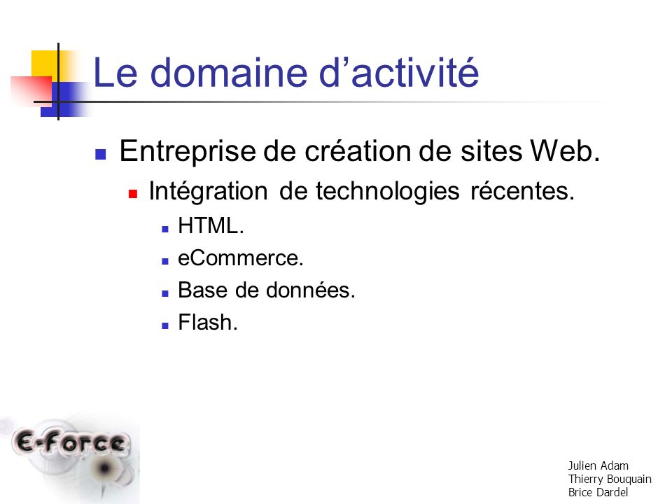 Le domaine d'activité Entreprise de création de sites Web.
