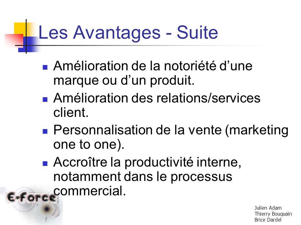 Les Avantages - Suite Amélioration de la notoriété d'une marque ou d'un produit. Amélioration des relations/services client.