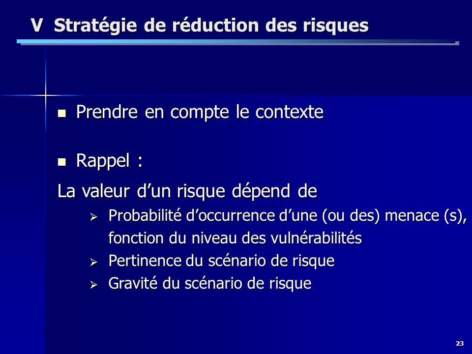 V Stratégie de réduction des risques