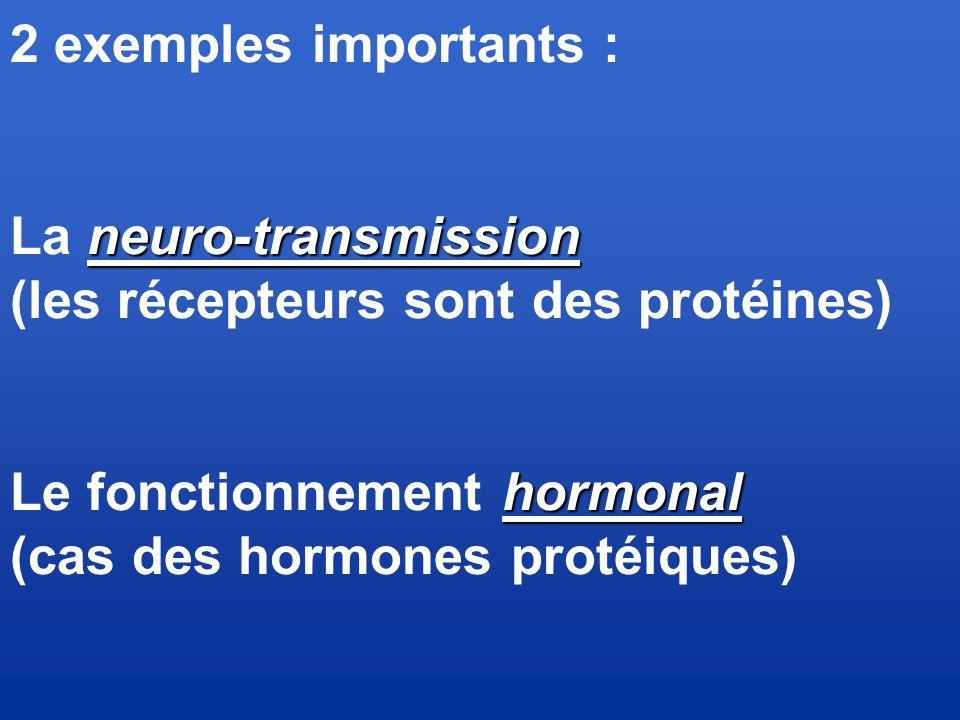 2 exemples importants : La neuro-transmission. (les récepteurs sont des protéines) Le fonctionnement hormonal.