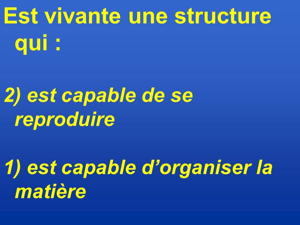Est vivante une structure qui :