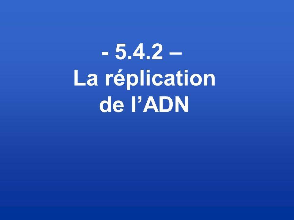 - 5.4.2 – La réplication de l'ADN