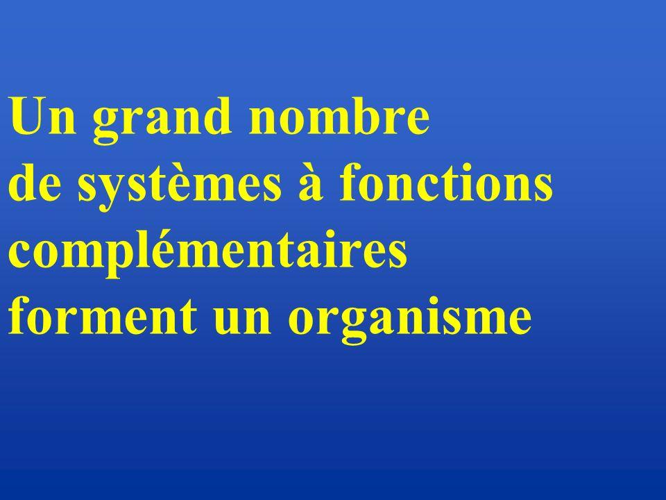 Un grand nombre de systèmes à fonctions complémentaires forment un organisme