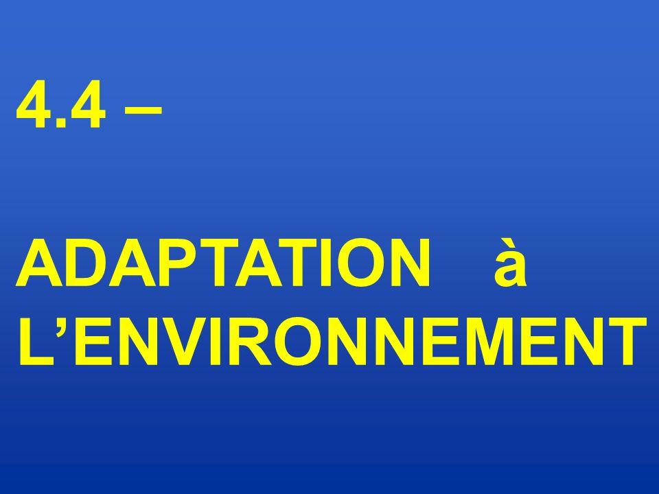 4.4 – ADAPTATION à L'ENVIRONNEMENT