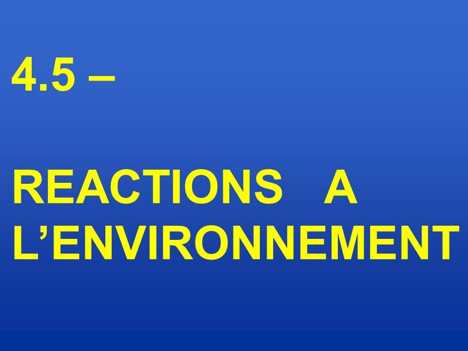 4.5 – REACTIONS A L'ENVIRONNEMENT