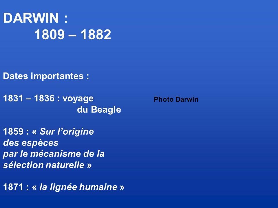 DARWIN : 1809 – 1882 Dates importantes : 1831 – 1836 : voyage