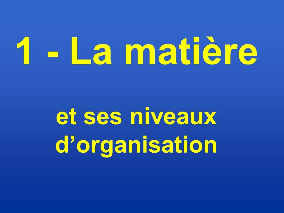 1 - La matière et ses niveaux d'organisation