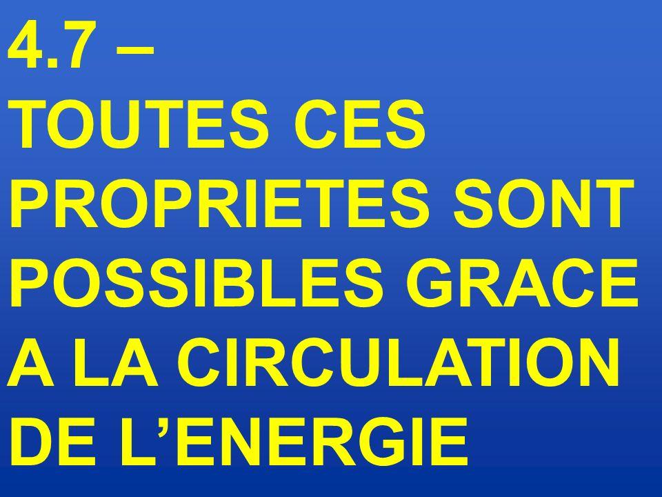 4.7 – TOUTES CES PROPRIETES SONT POSSIBLES GRACE A LA CIRCULATION DE L'ENERGIE
