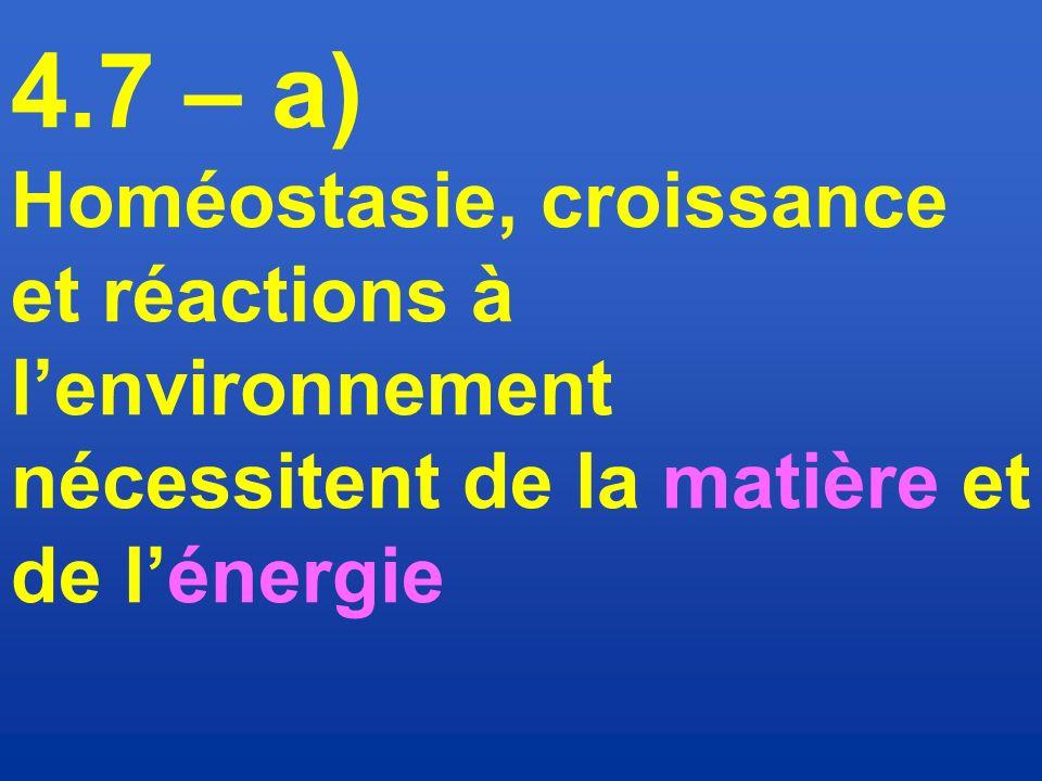 4.7 – a) Homéostasie, croissance et réactions à l'environnement