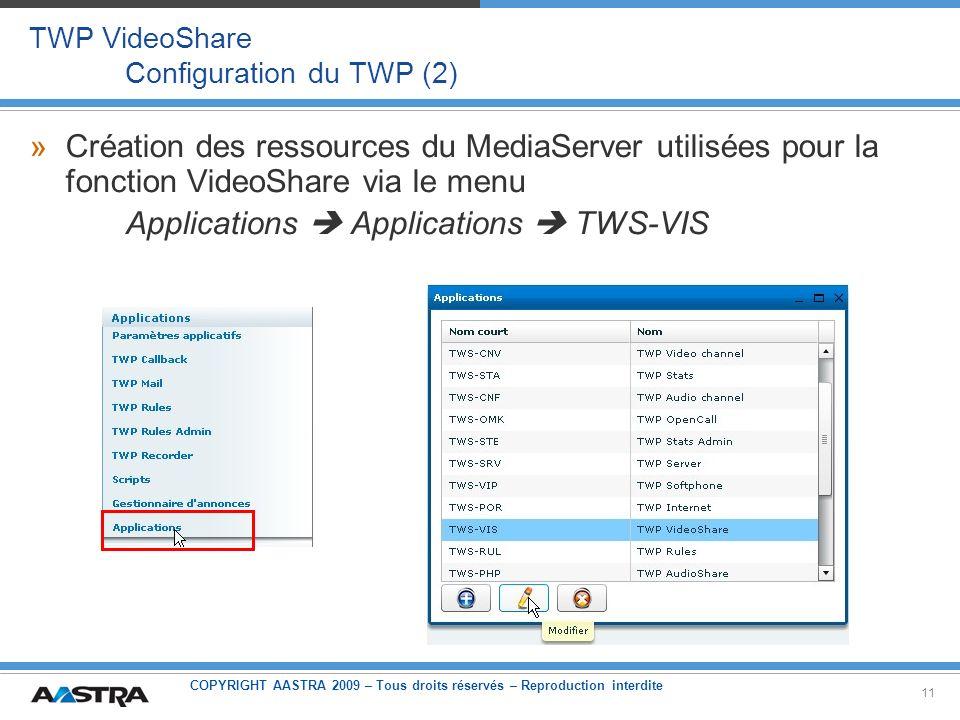 TWP VideoShare Configuration du TWP (2)