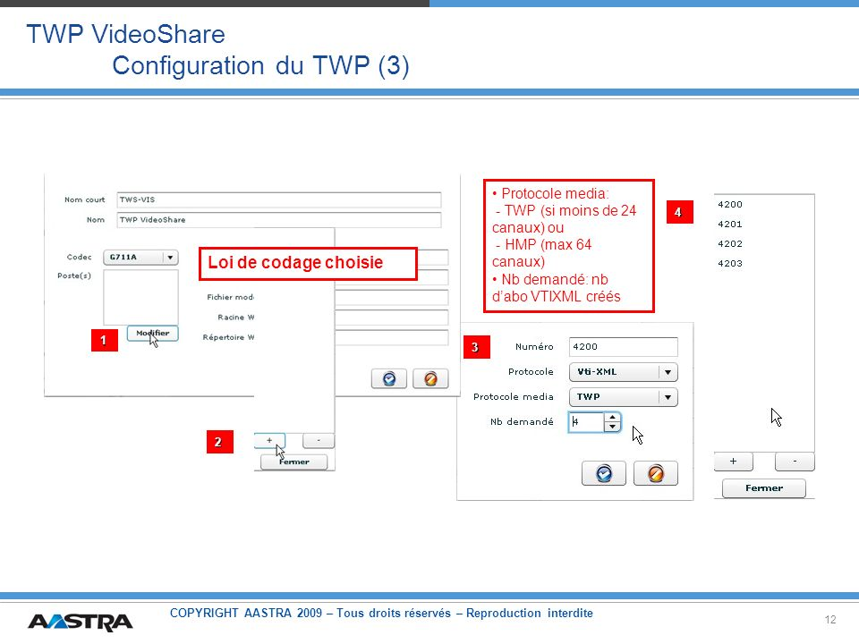 TWP VideoShare Configuration du TWP (3)