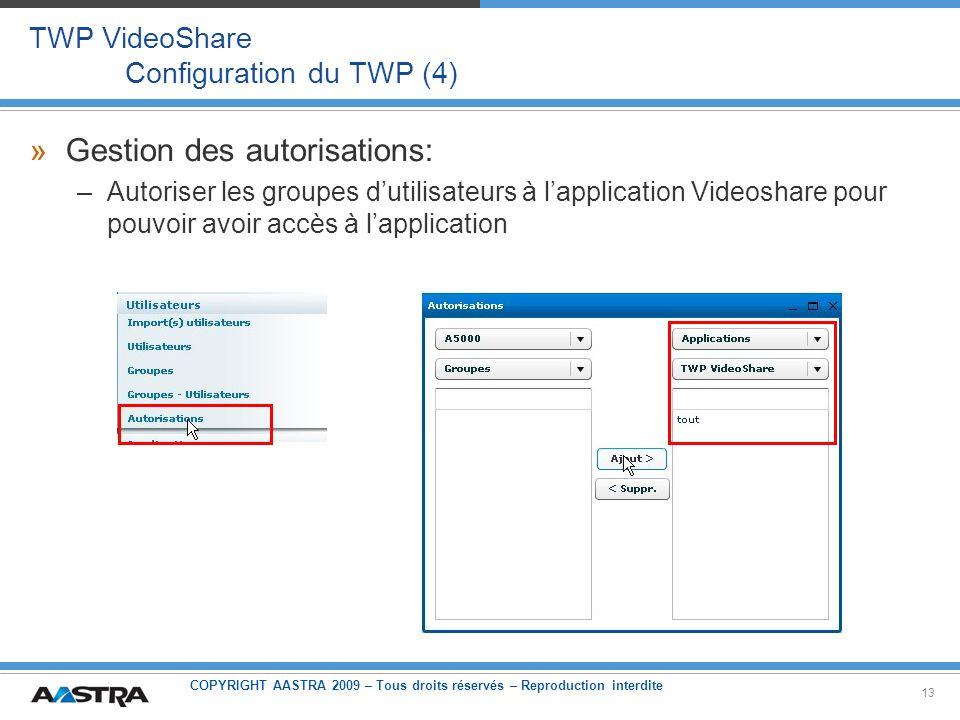 TWP VideoShare Configuration du TWP (4)