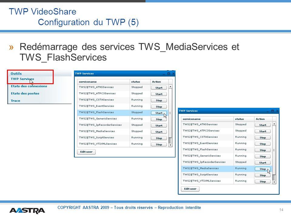 TWP VideoShare Configuration du TWP (5)