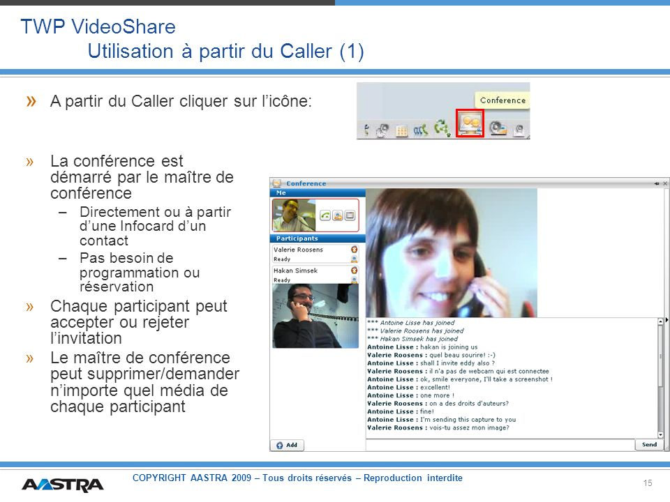 TWP VideoShare Utilisation à partir du Caller (1)