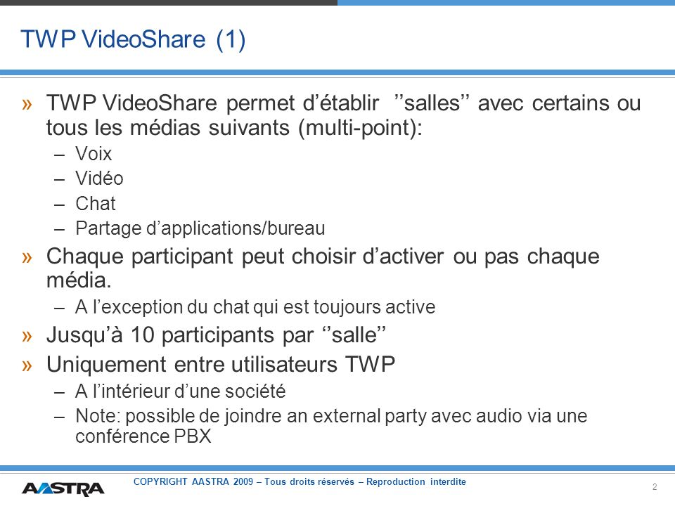 TWP VideoShare (1) TWP VideoShare permet d'établir ''salles'' avec certains ou tous les médias suivants (multi-point):
