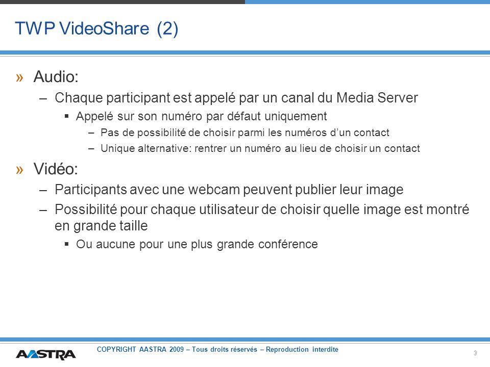 TWP VideoShare (2) Audio: Vidéo: