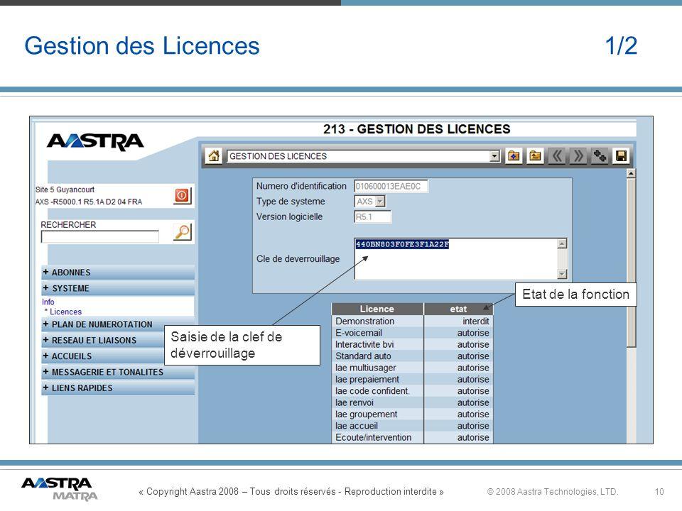 Gestion des Licences 1/2 Etat de la fonction Saisie de la clef de