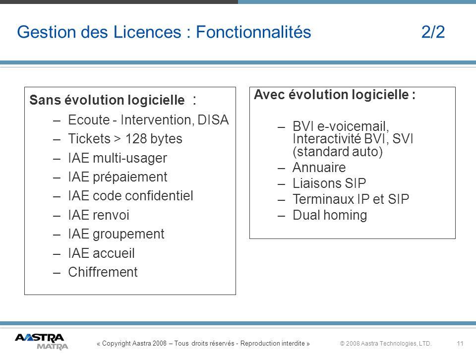 Gestion des Licences : Fonctionnalités 2/2